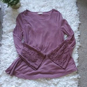 Altar'd State pink lace sleeves blouse